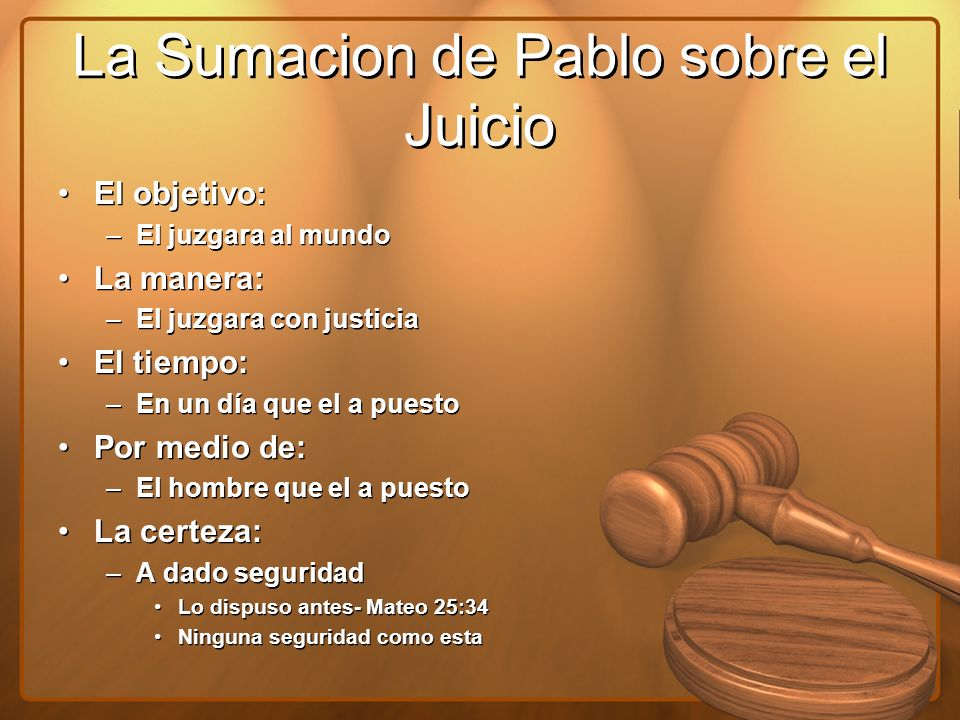 La Sumacion de Pablo sobre el Juicio