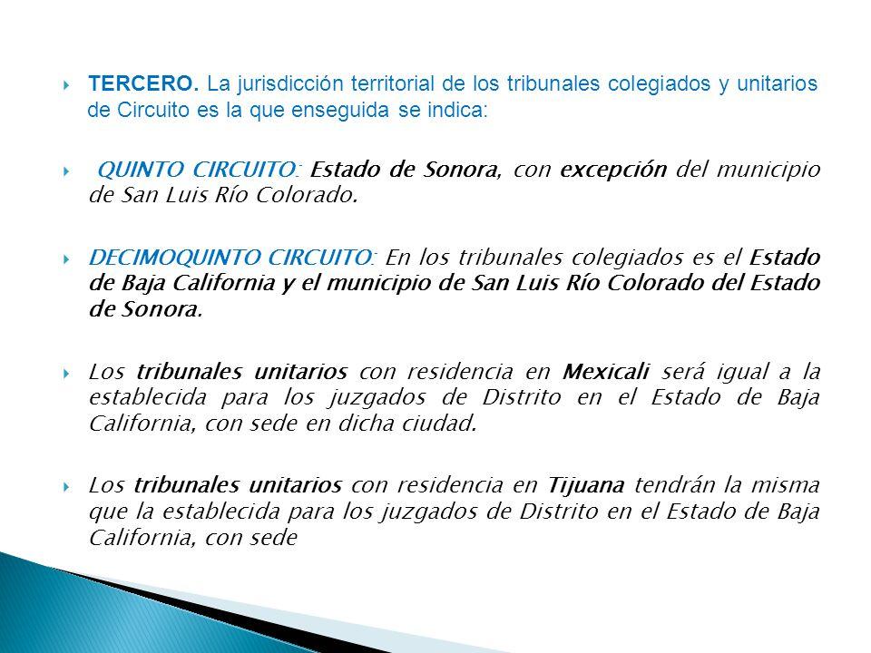 TERCERO. La jurisdicción territorial de los tribunales colegiados y unitarios de Circuito es la que enseguida se indica: