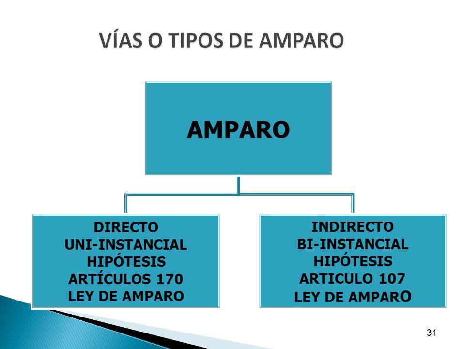 AMPARO VÍAS O TIPOS DE AMPARO DIRECTO INDIRECTO UNI-INSTANCIAL