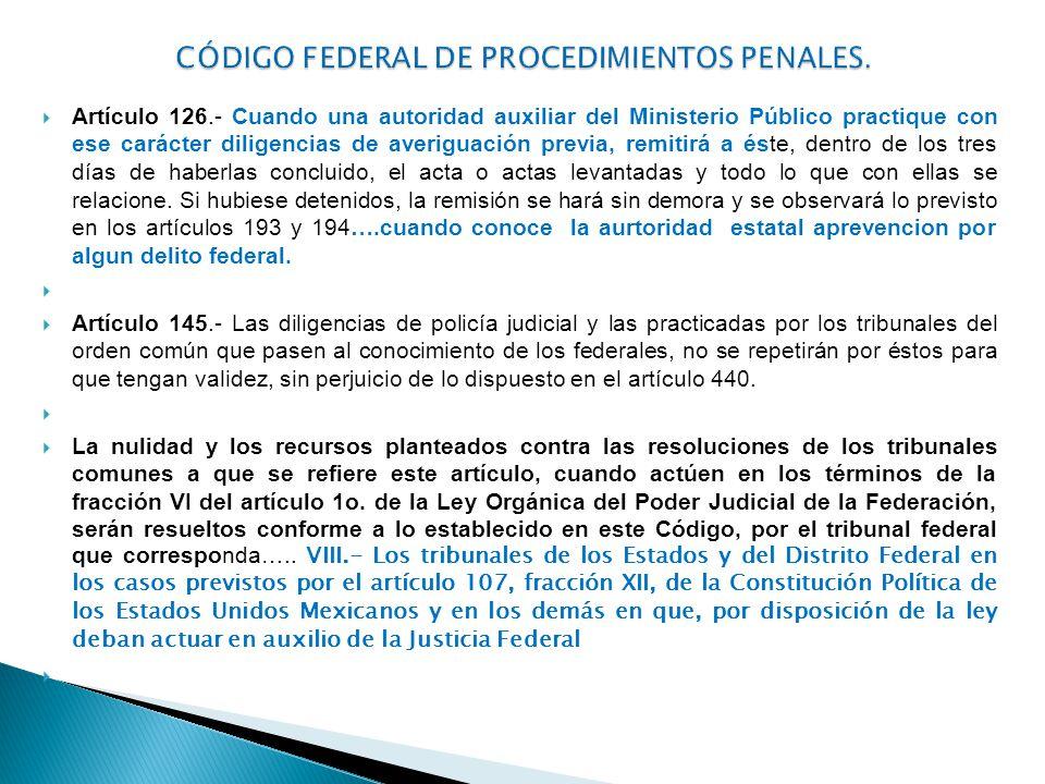CÓDIGO FEDERAL DE PROCEDIMIENTOS PENALES.