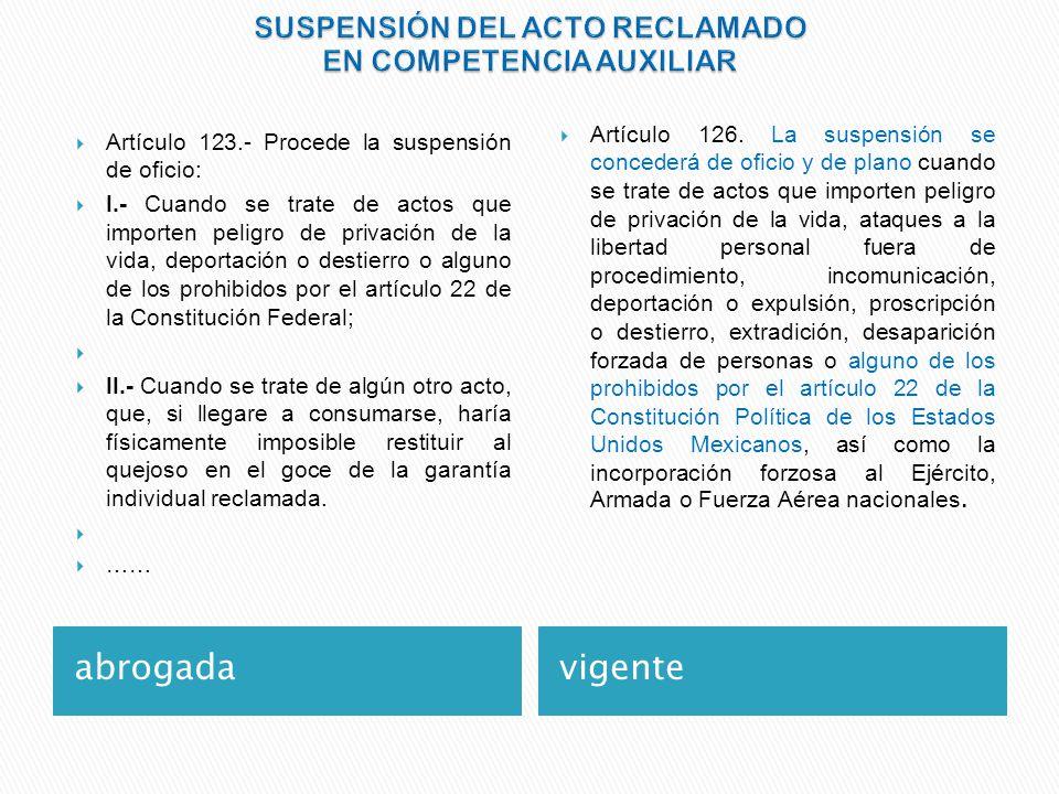 SUSPENSIÓN DEL ACTO RECLAMADO EN COMPETENCIA AUXILIAR