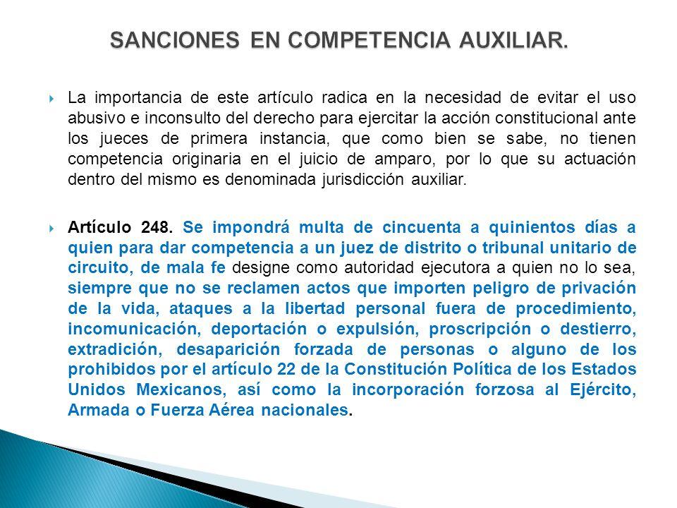 SANCIONES EN COMPETENCIA AUXILIAR.