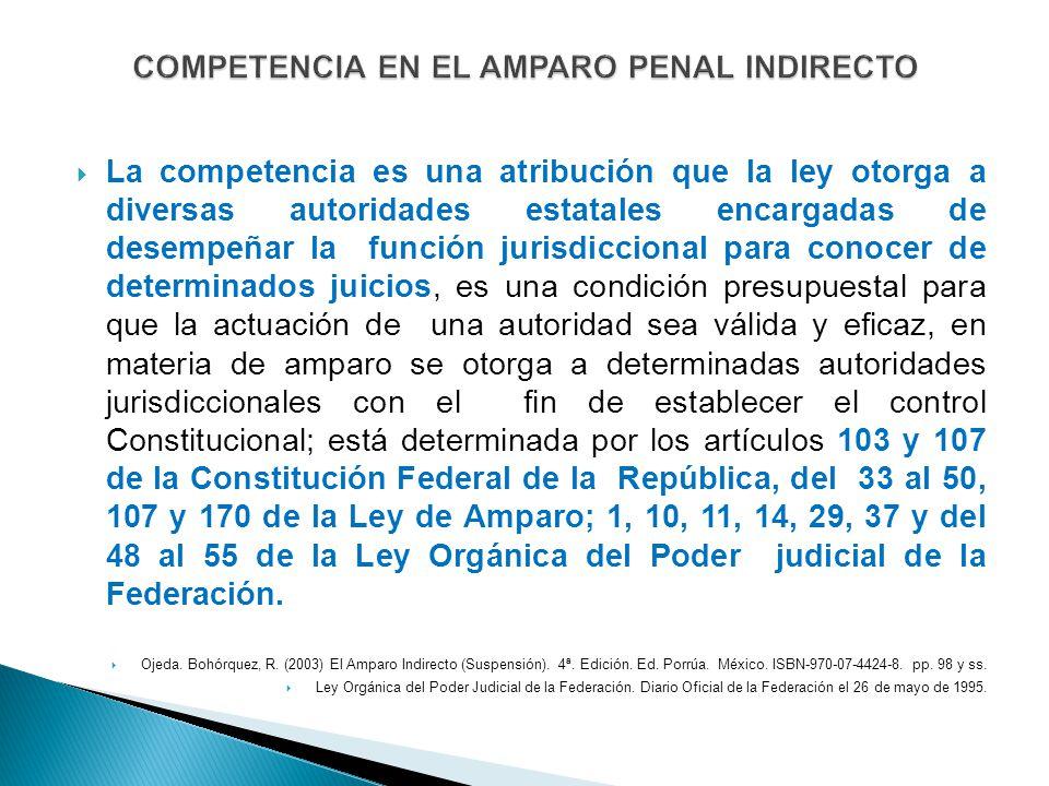 COMPETENCIA EN EL AMPARO PENAL INDIRECTO