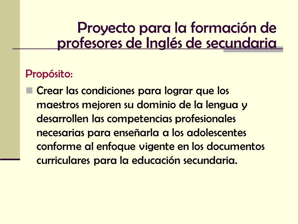Proyecto para la formación de profesores de Inglés de secundaria