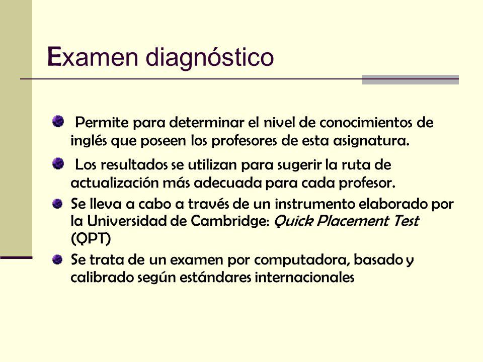 Examen diagnóstico Permite para determinar el nivel de conocimientos de inglés que poseen los profesores de esta asignatura.