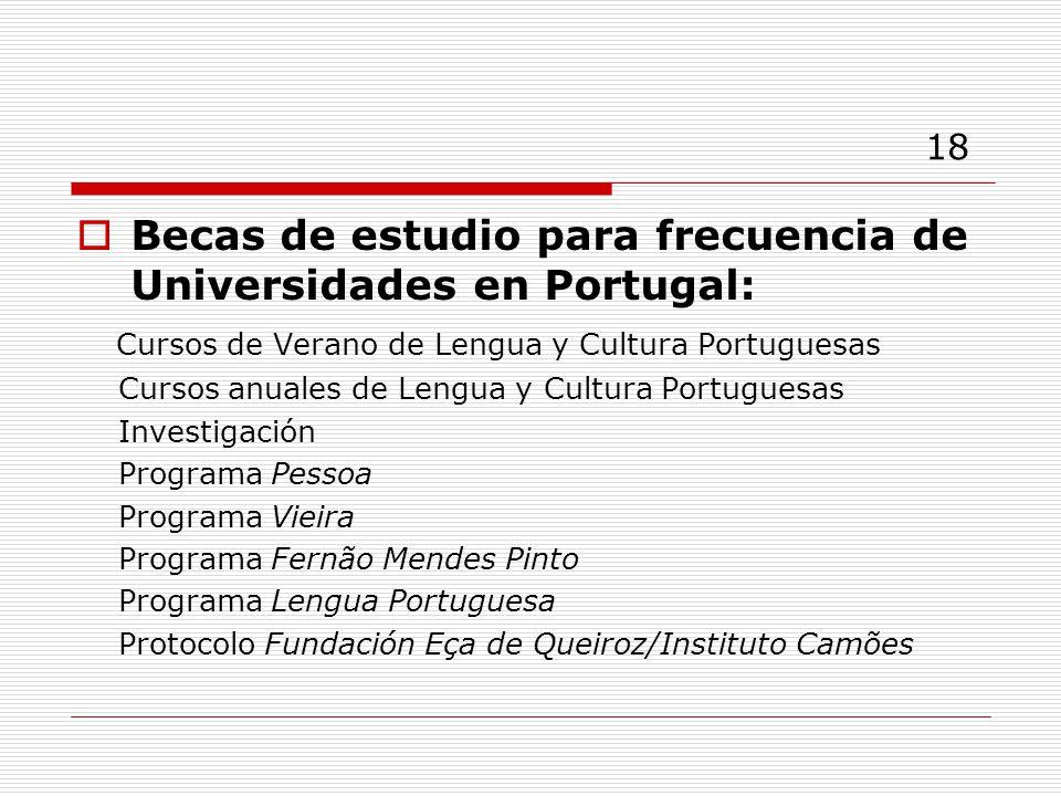 18 Becas de estudio para frecuencia de Universidades en Portugal: