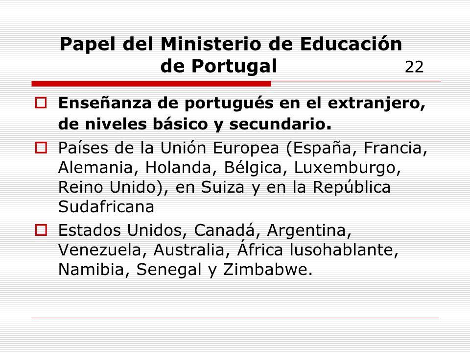 Papel del Ministerio de Educación de Portugal 22
