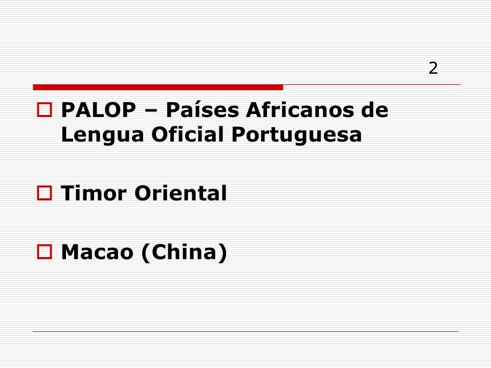 2 PALOP – Países Africanos de Lengua Oficial Portuguesa Timor Oriental