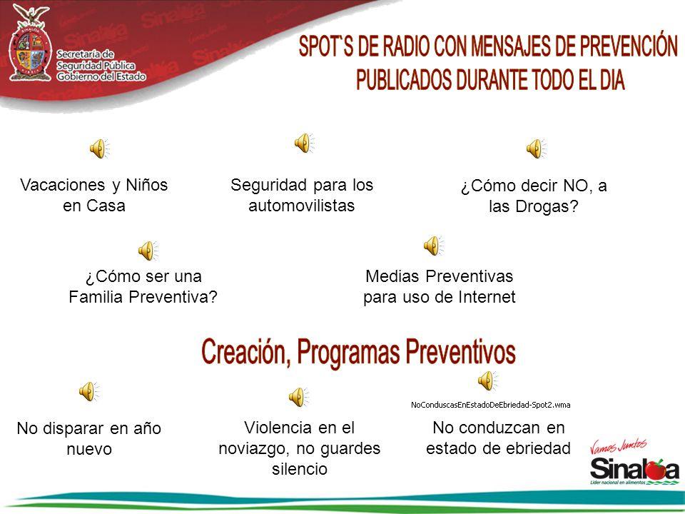 SPOT`S DE RADIO CON MENSAJES DE PREVENCIÓN