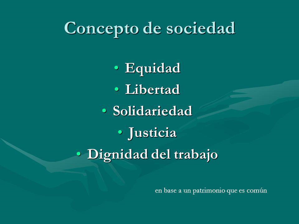 Concepto de sociedad Equidad Libertad Solidariedad Justicia