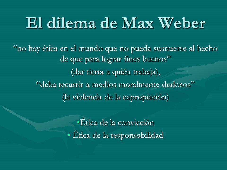 El dilema de Max Weber no hay ética en el mundo que no pueda sustraerse al hecho de que para lograr fines buenos