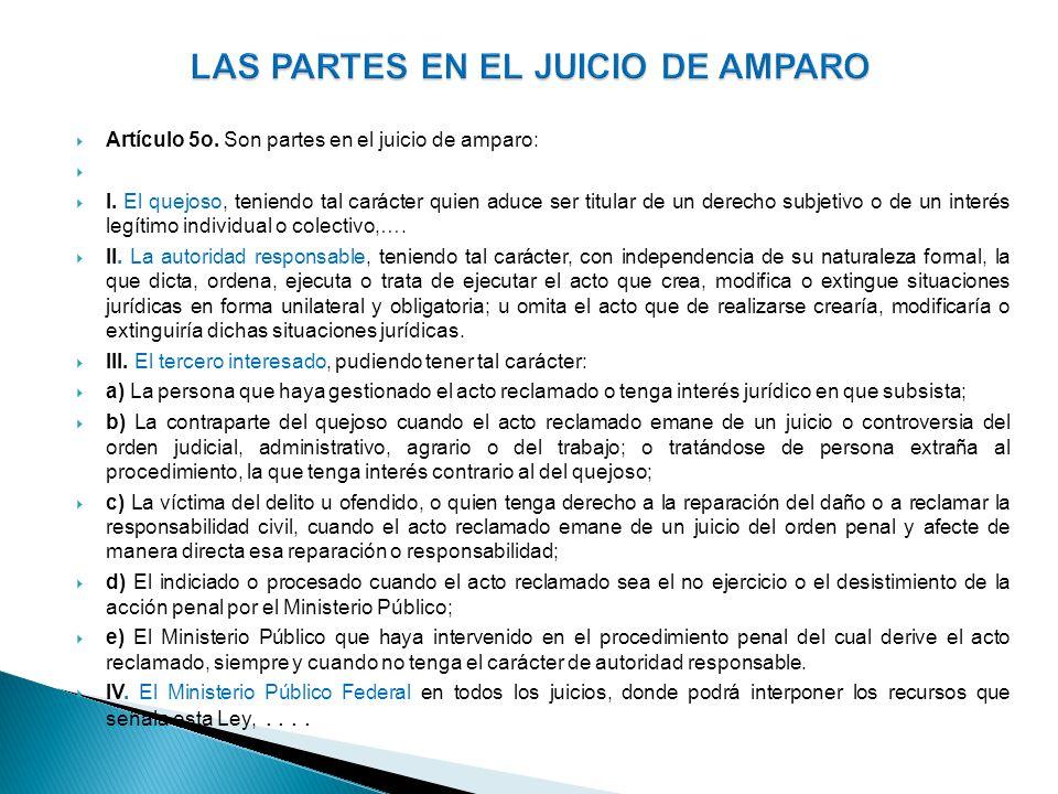 LAS PARTES EN EL JUICIO DE AMPARO