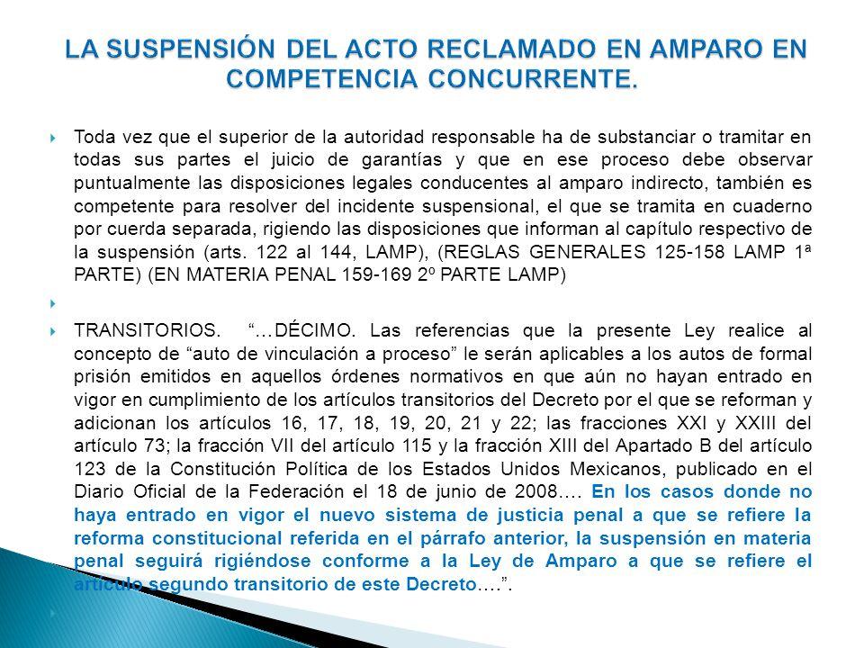 LA SUSPENSIÓN DEL ACTO RECLAMADO EN AMPARO EN COMPETENCIA CONCURRENTE.