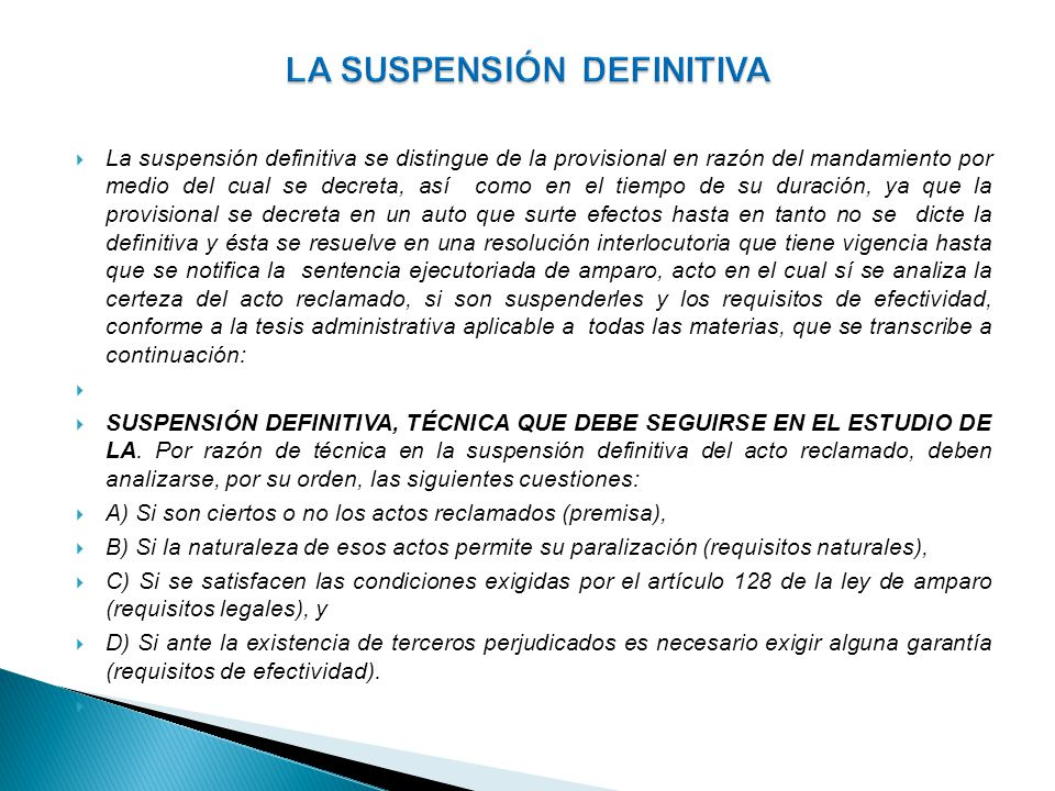 LA SUSPENSIÓN DEFINITIVA