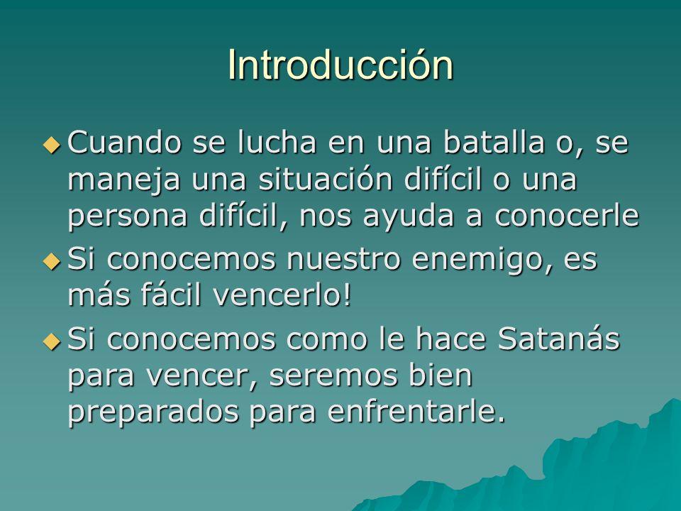 Introducción Cuando se lucha en una batalla o, se maneja una situación difícil o una persona difícil, nos ayuda a conocerle.