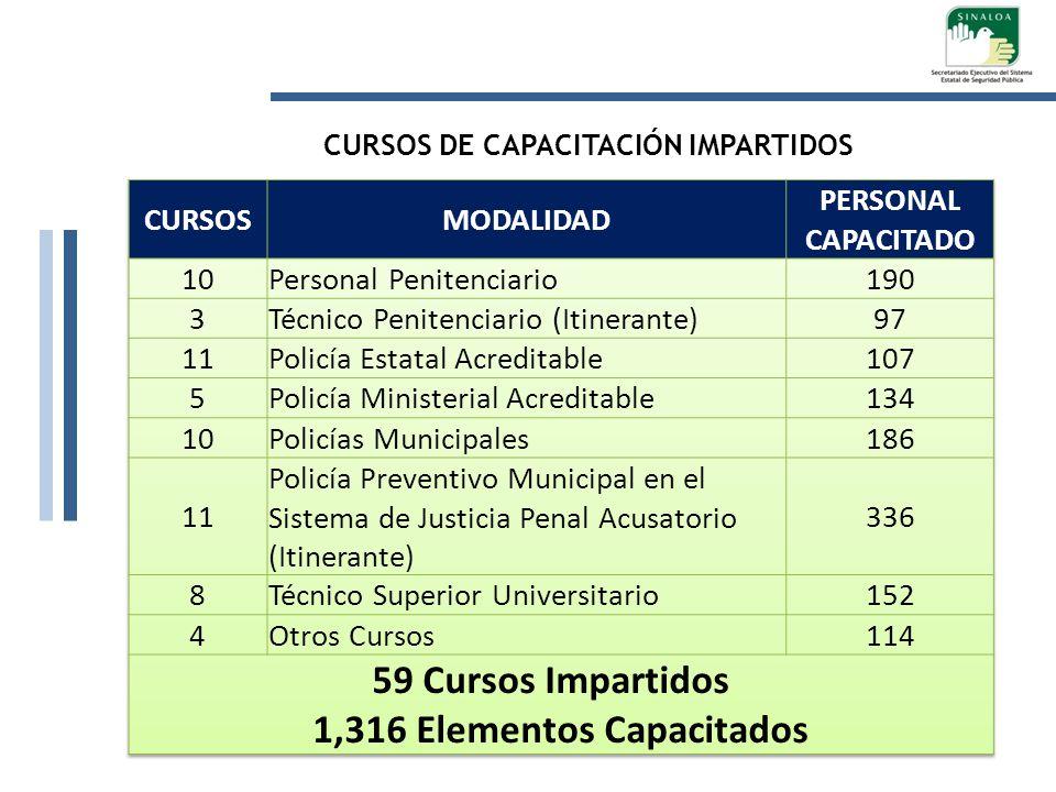 CURSOS DE CAPACITACIÓN IMPARTIDOS 1,316 Elementos Capacitados