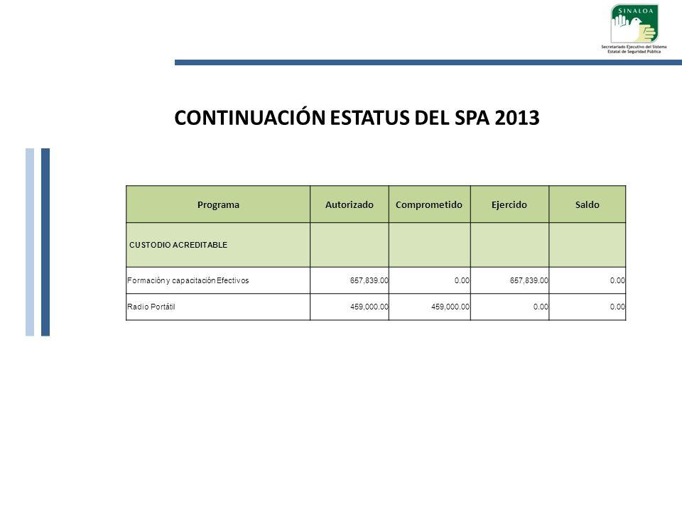 CONTINUACIÓN ESTATUS DEL SPA 2013