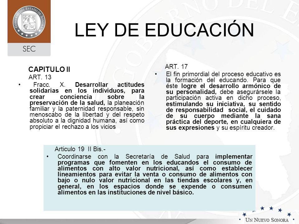 LEY DE EDUCACIÓN CAPITULO II ART. 17