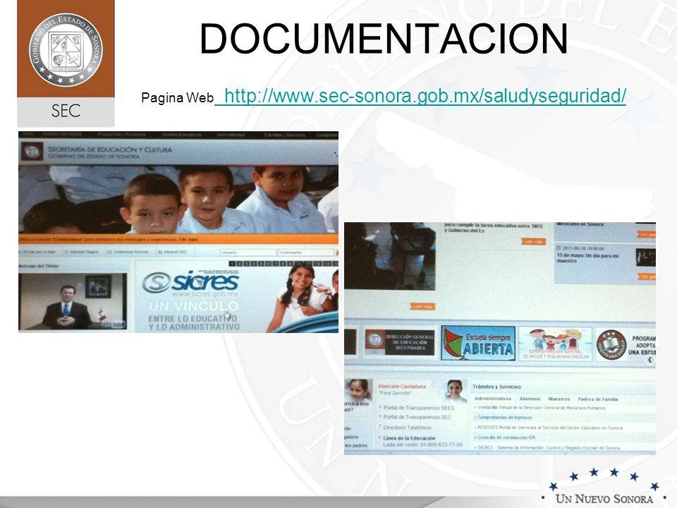 DOCUMENTACION Pagina Web http://www.sec-sonora.gob.mx/saludyseguridad/