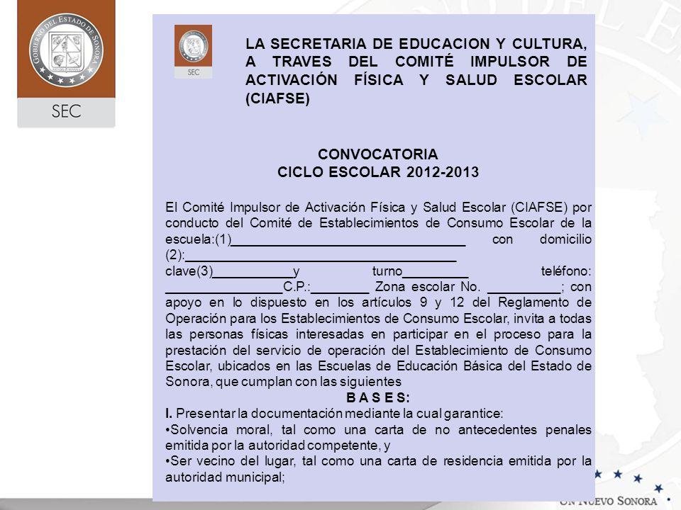 CONVOCATORIA CICLO ESCOLAR 2012-2013