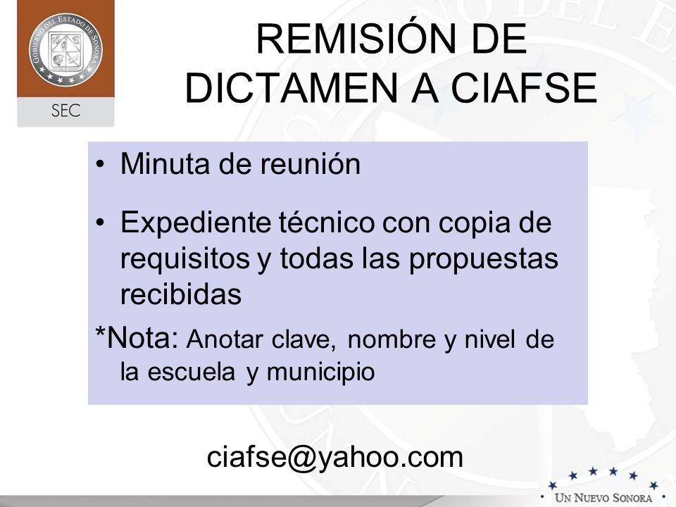 REMISIÓN DE DICTAMEN A CIAFSE