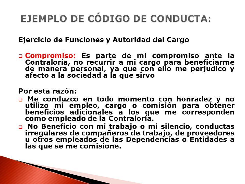 EJEMPLO DE CÓDIGO DE CONDUCTA: