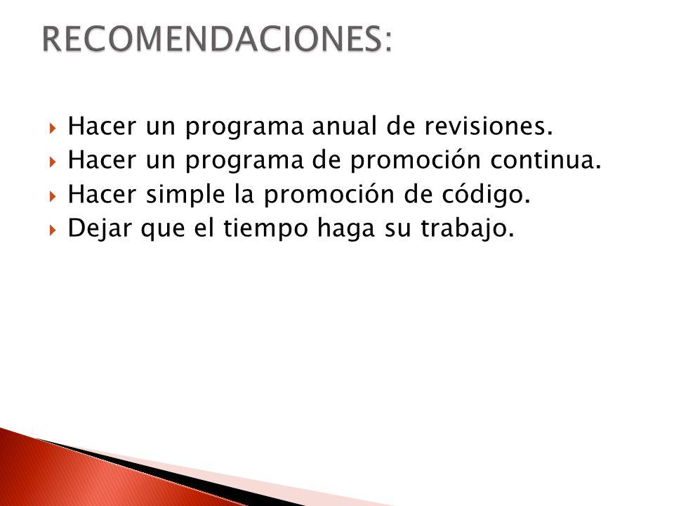 RECOMENDACIONES: Hacer un programa anual de revisiones.