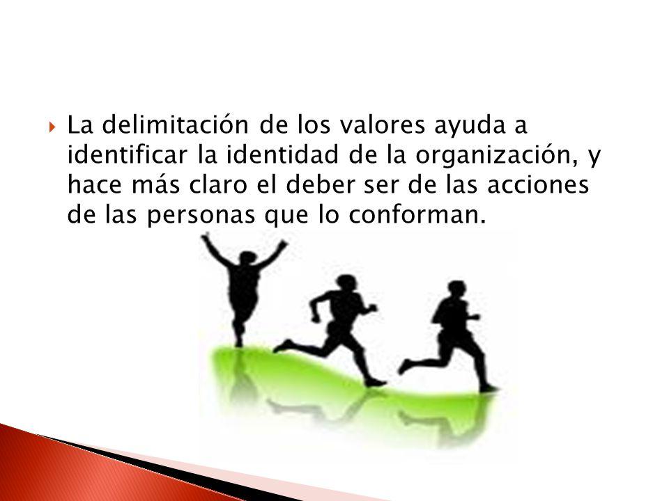La delimitación de los valores ayuda a identificar la identidad de la organización, y hace más claro el deber ser de las acciones de las personas que lo conforman.