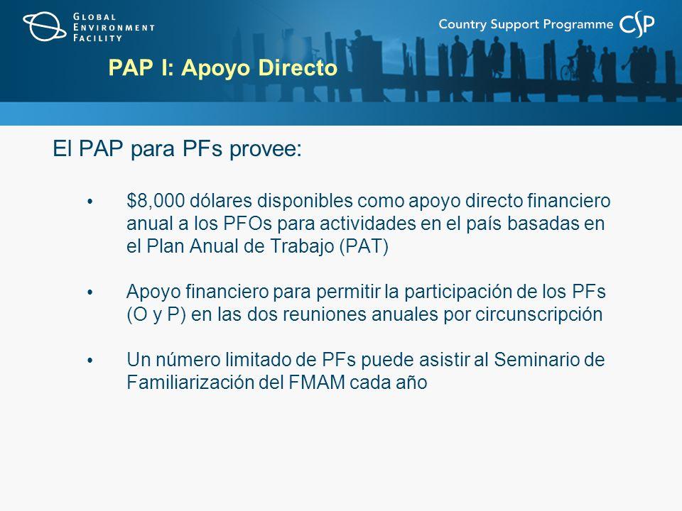 PAP I: Apoyo Directo El PAP para PFs provee: