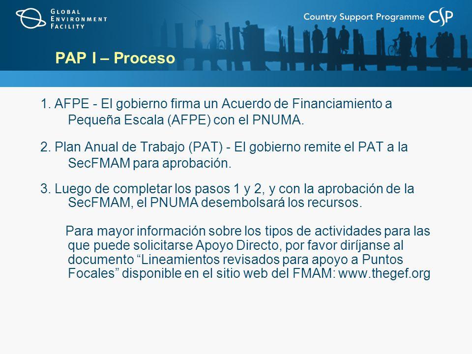 PAP I – Proceso 1. AFPE - El gobierno firma un Acuerdo de Financiamiento a Pequeña Escala (AFPE) con el PNUMA.