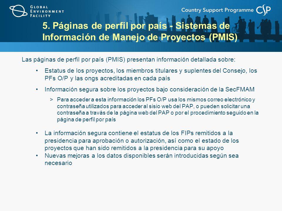 5. Páginas de perfil por país - Sistemas de Información de Manejo de Proyectos (PMIS)