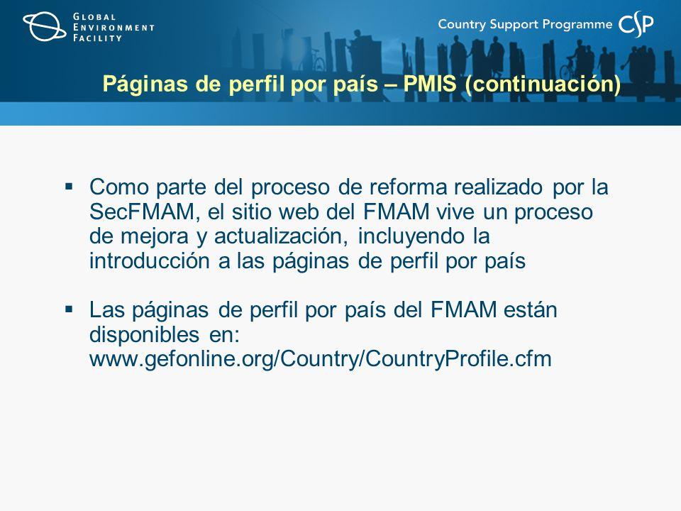 Páginas de perfil por país – PMIS (continuación)