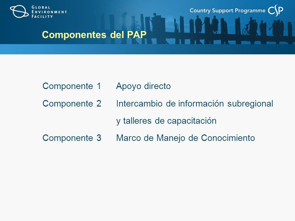 Componentes del PAP Componente 1 Apoyo directo