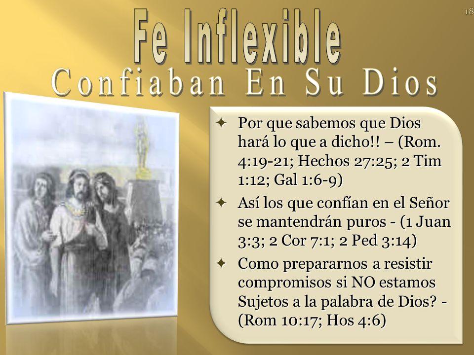 Fe Inflexible Confiaban En Su Dios