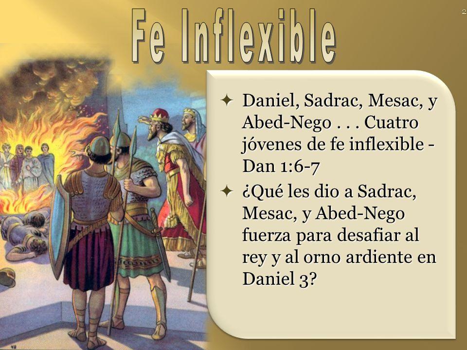 Fe Inflexible Daniel, Sadrac, Mesac, y Abed-Nego . . . Cuatro jóvenes de fe inflexible - Dan 1:6-7.
