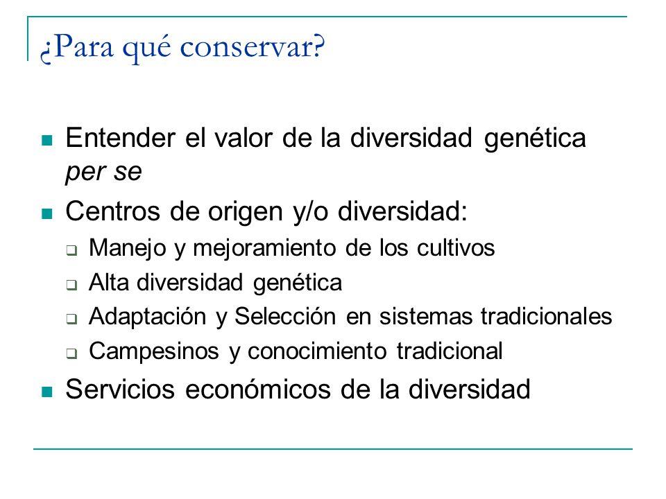 ¿Para qué conservar Entender el valor de la diversidad genética per se. Centros de origen y/o diversidad:
