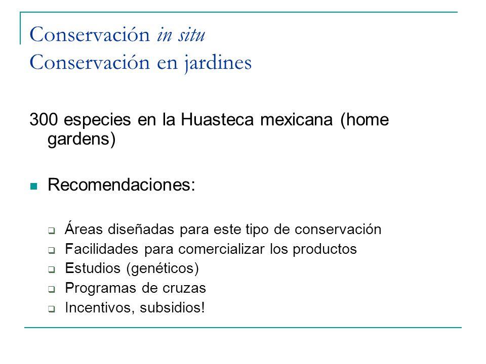 Conservación in situ Conservación en jardines