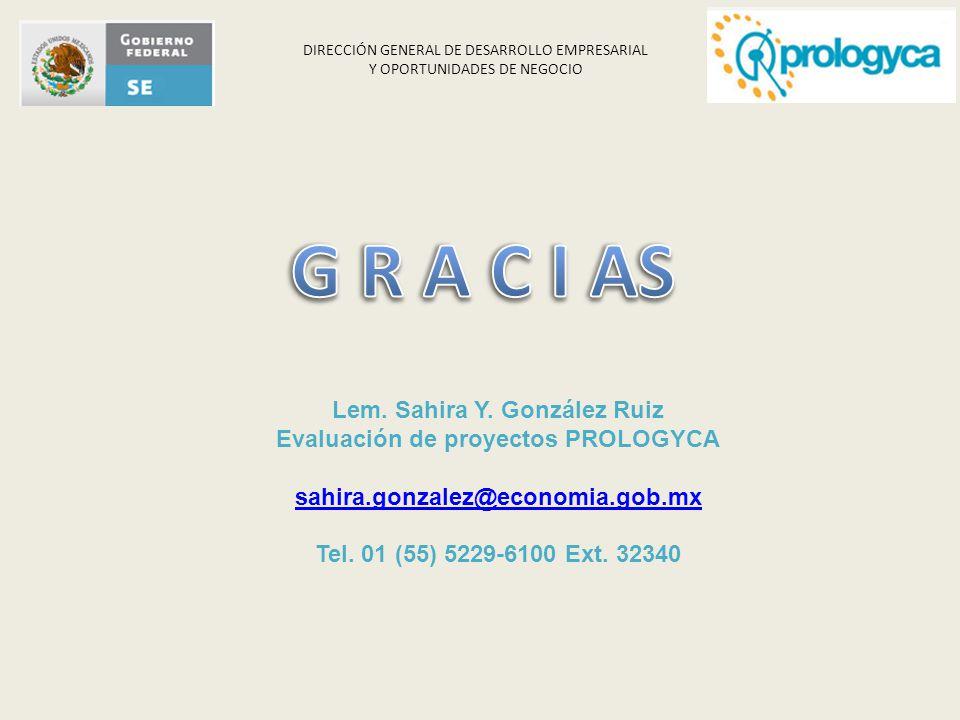 Lem. Sahira Y. González Ruiz Evaluación de proyectos PROLOGYCA