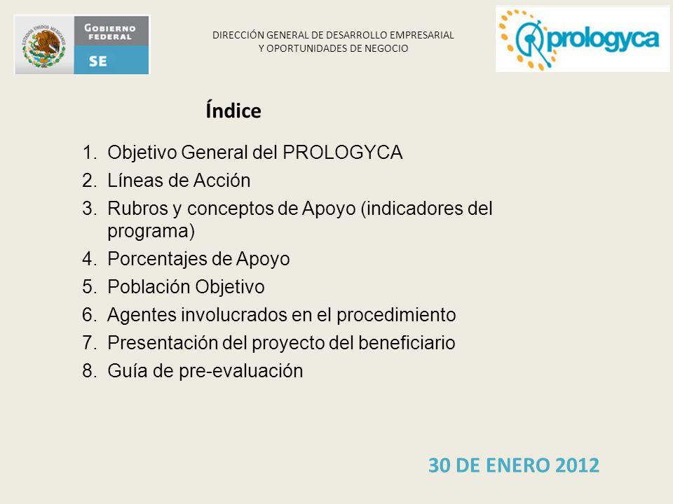 Índice 30 DE ENERO 2012 Objetivo General del PROLOGYCA