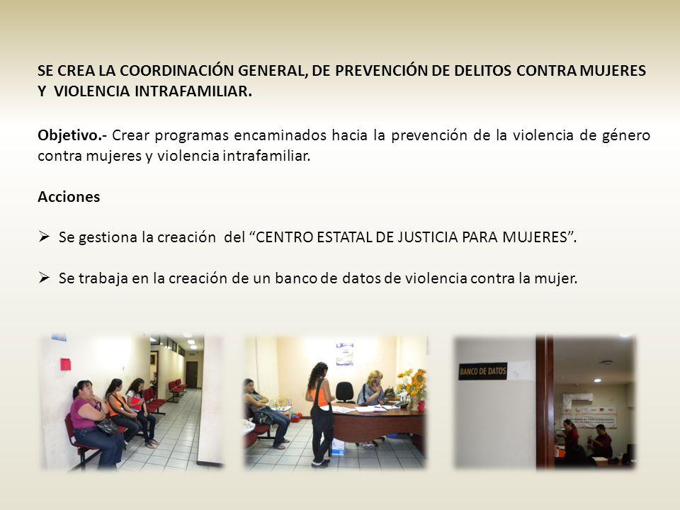 SE CREA LA COORDINACIÓN GENERAL, DE PREVENCIÓN DE DELITOS CONTRA MUJERES Y VIOLENCIA INTRAFAMILIAR.