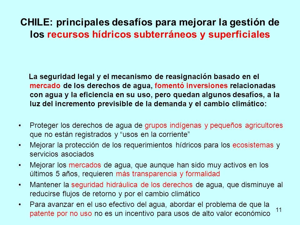 CHILE: principales desafíos para mejorar la gestión de los recursos hídricos subterráneos y superficiales