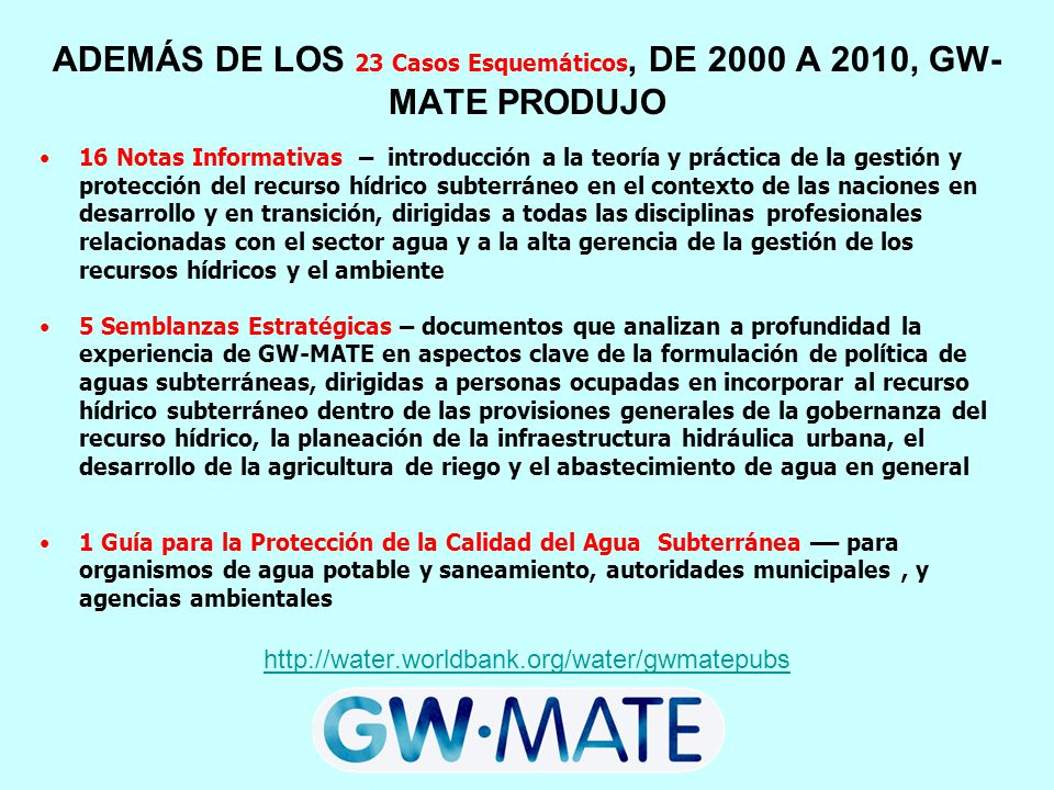 ADEMÁS DE LOS 23 Casos Esquemáticos, DE 2000 A 2010, GW-MATE PRODUJO