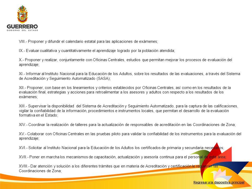 VIII.- Proponer y difundir el calendario estatal para las aplicaciones de exámenes;