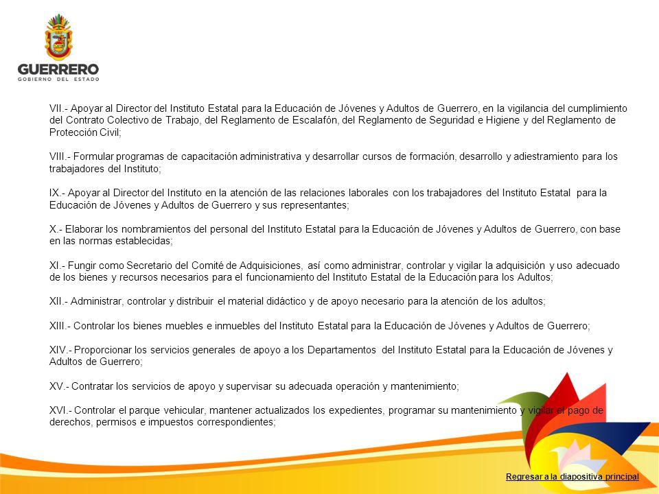 VII.- Apoyar al Director del Instituto Estatal para la Educación de Jóvenes y Adultos de Guerrero, en la vigilancia del cumplimiento del Contrato Colectivo de Trabajo, del Reglamento de Escalafón, del Reglamento de Seguridad e Higiene y del Reglamento de Protección Civil;