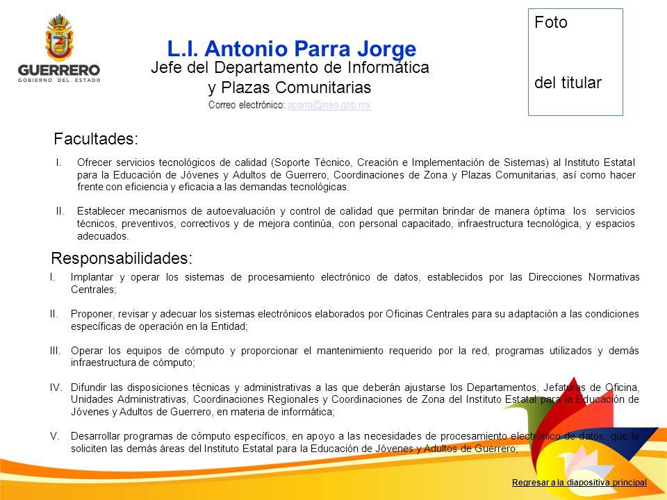 L.I. Antonio Parra Jorge Foto del titular