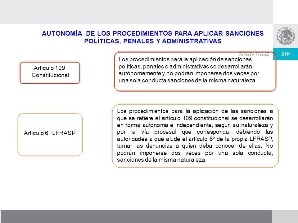 AUTONOMÍA DE LOS PROCEDIMIENTOS PARA APLICAR SANCIONES POLÍTICAS, PENALES Y ADMINISTRATIVAS