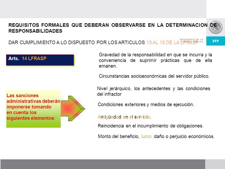 REQUISITOS FORMALES QUE DEBERAN OBSERVARSE EN LA DETERMINACION DE RESPONSABILIDADES