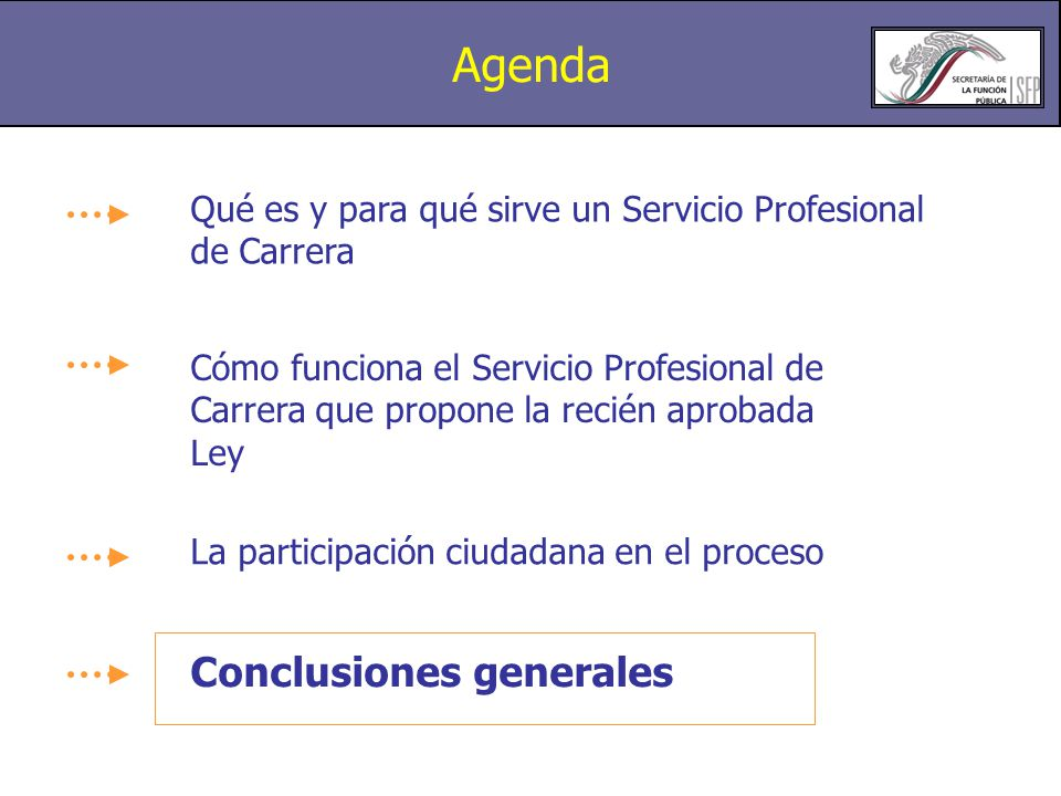 Agenda Conclusiones generales