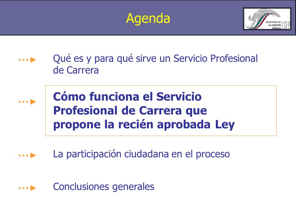 Agenda Qué es y para qué sirve un Servicio Profesional de Carrera.