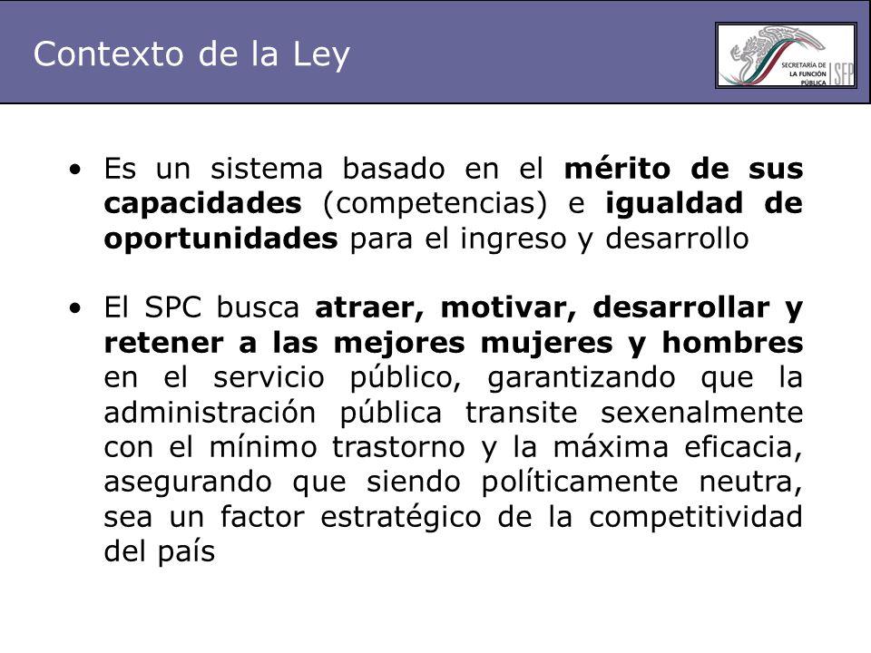 Contexto de la Ley Es un sistema basado en el mérito de sus capacidades (competencias) e igualdad de oportunidades para el ingreso y desarrollo.
